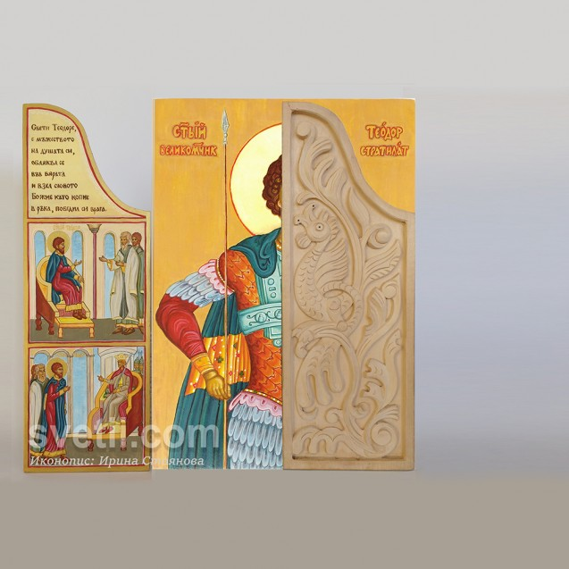 Hand-painted iconostasis of St. Theodore Stratilat with life scenes, triptych