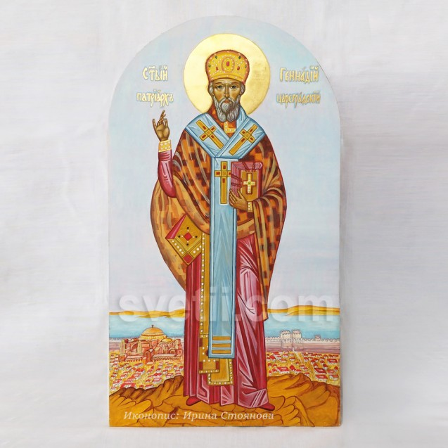 Hand-painted Icon Saint Gennady Patriarch of Constantinople