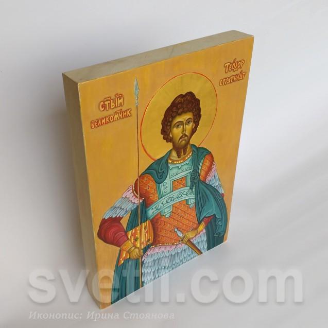 Hand-painted Icon Saint Theodor Stratilat - big